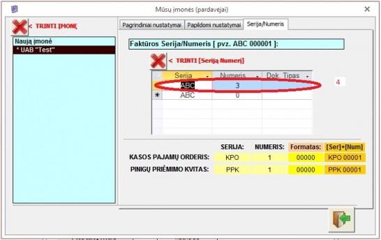 Pagrindinis meniu - Mūsų įmonė - [TAB] Serija/Numeris  - sąskaita faktūra 35v7