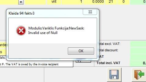 kalida 94 - invalid use of null - sąskaita faktūra 35v7