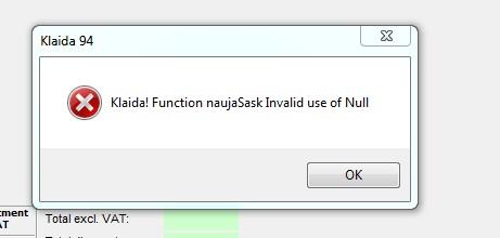 kalida 94 - invalid use of null - sąskaita faktūra 35v7 - error2
