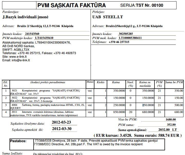 Euro įvedimo Lietuvoje Tvarka Sąskaita Faktūra 35v7